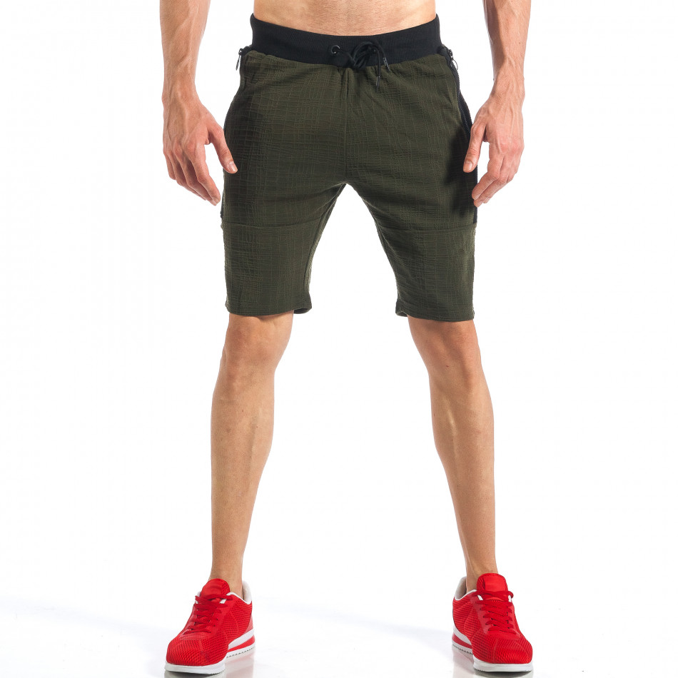 Зелени мъжки шорти с ципове на крачолите it110418-25