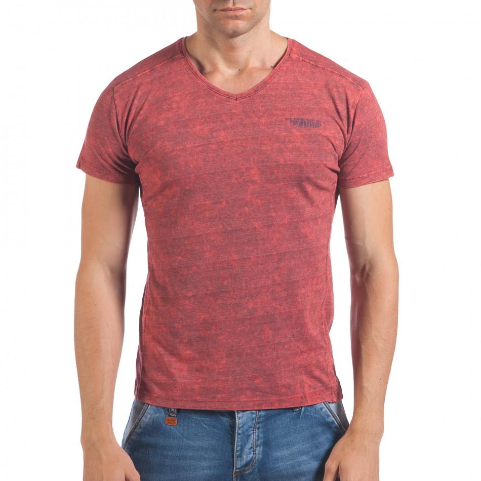 Мъжка червена тениска с избелял ефект и надпис il060616-38