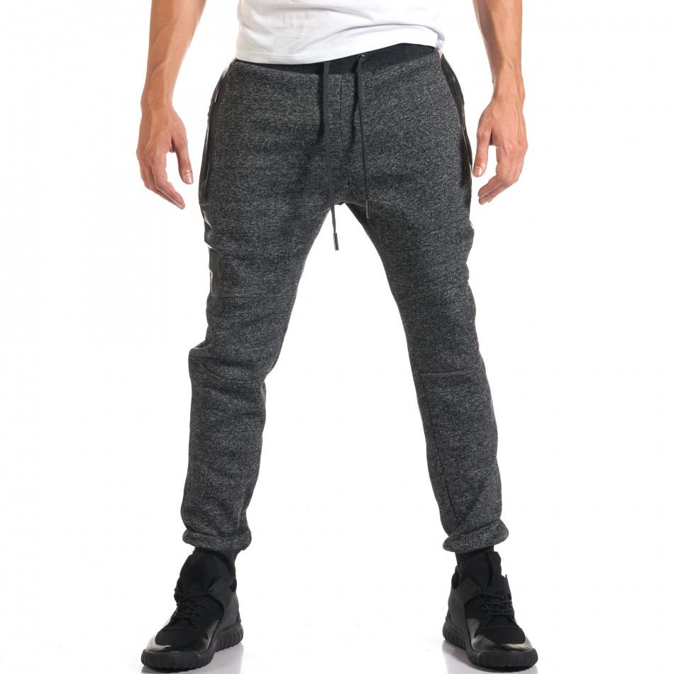 Мъжко сиво долнище с черни ленти it160916-38