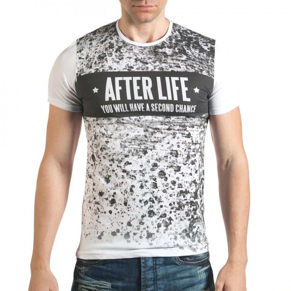 Мъжка бяла тениска с гъзарски надпис отпред il140416-17