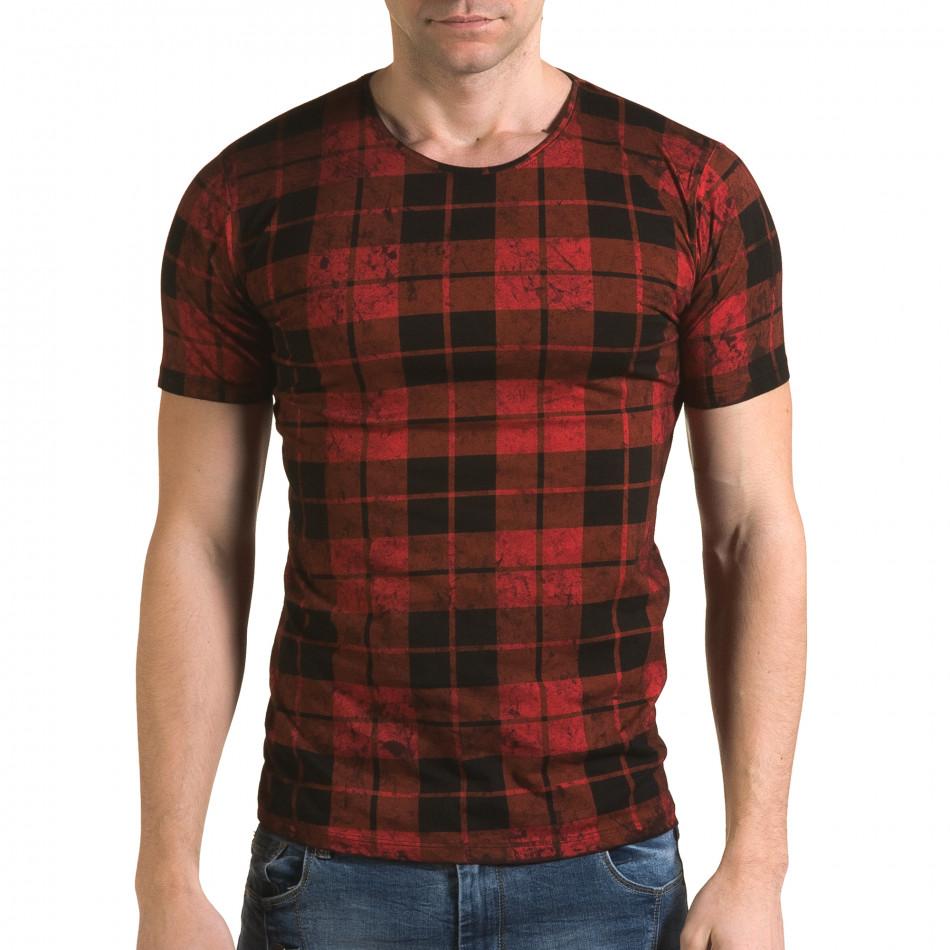 Мъжка червена карирана тениска il120216-49