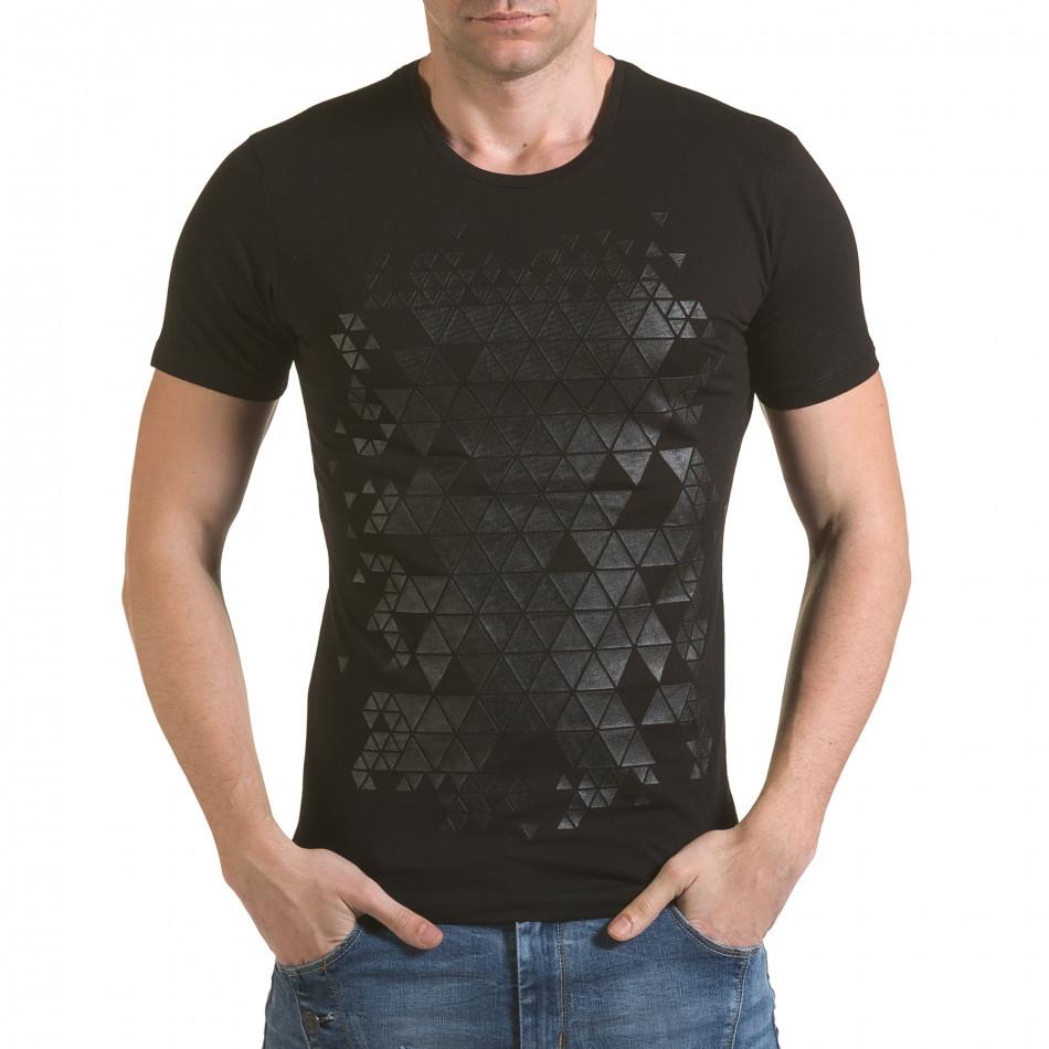 Мъжка черна тениска с фигуралнен принт il170216-56