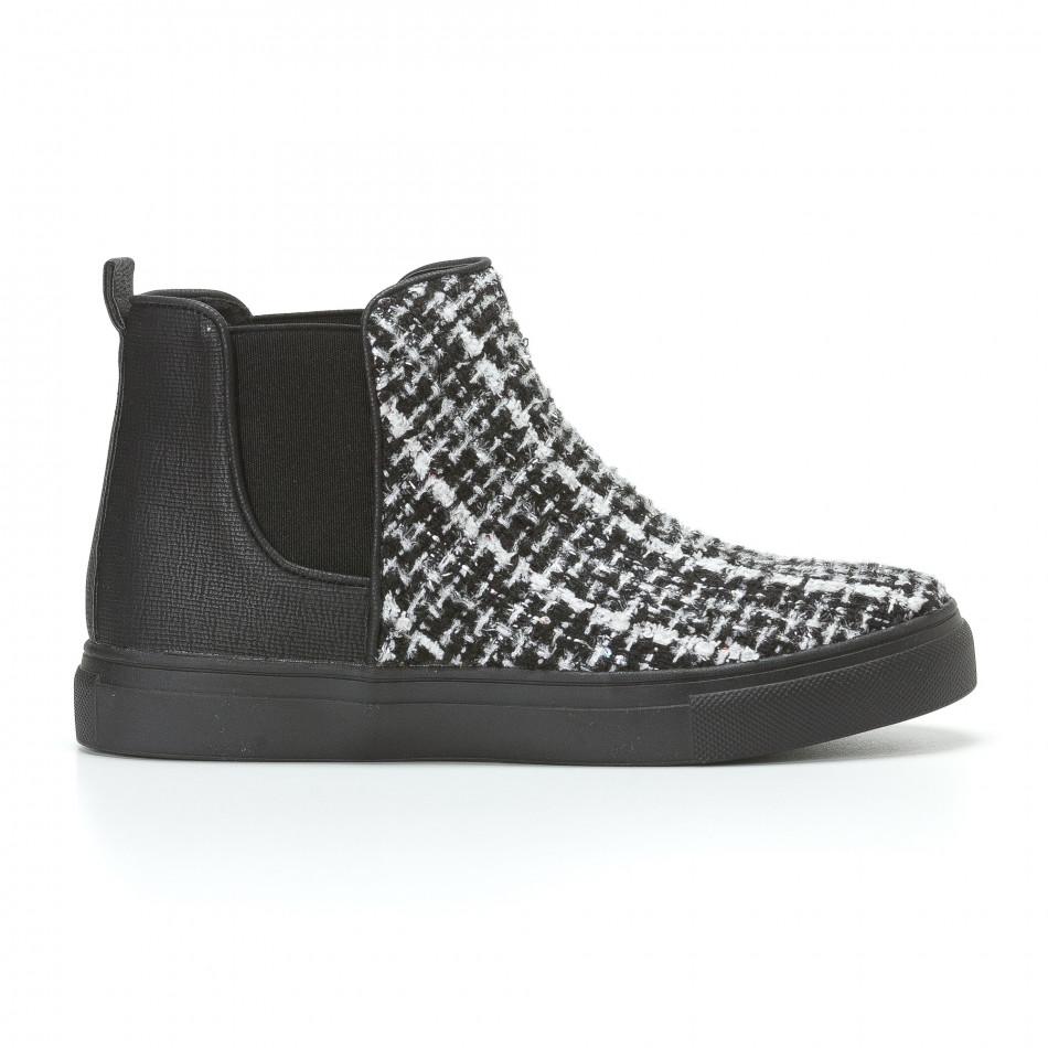Дамски черни боти с бяло-черна текстилна част it110817-5