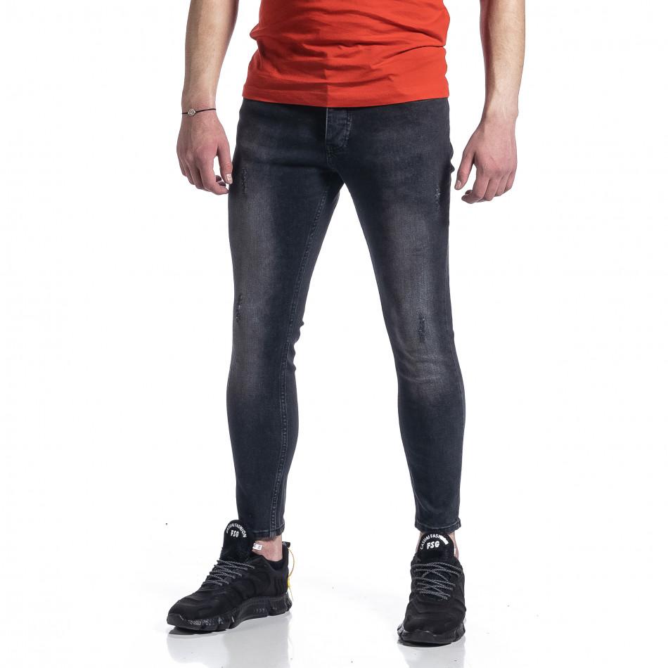 Мъжки черни дънки с леки прокъсвания tr270221-4