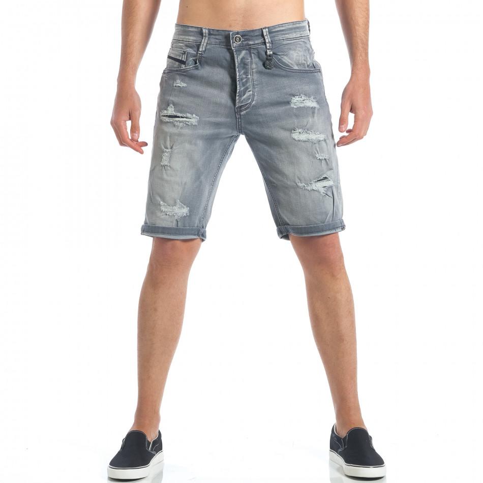 Мъжки сиви къси дънки с големи скъсвания it190417-61
