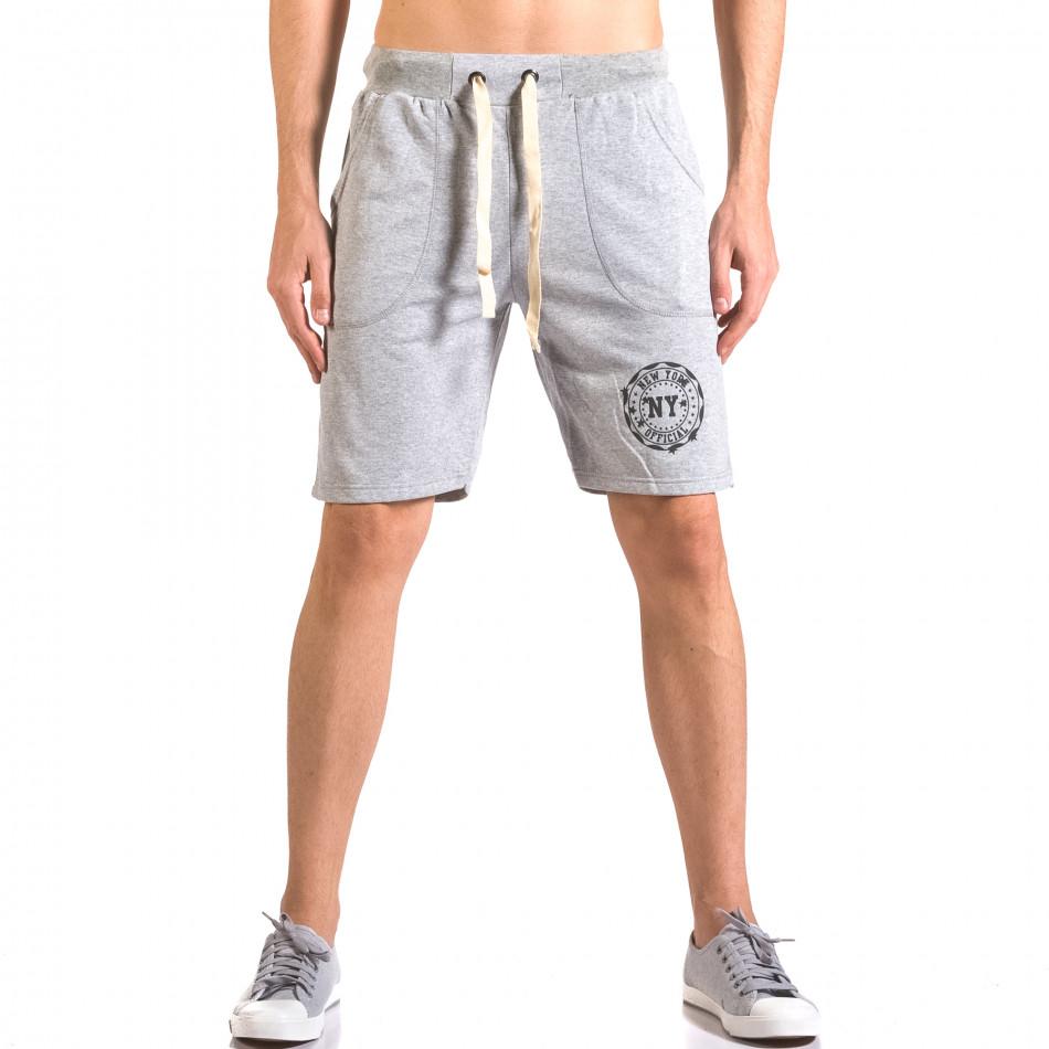 Мъжки сиви шорти за спорт с малък принт ca050416-42