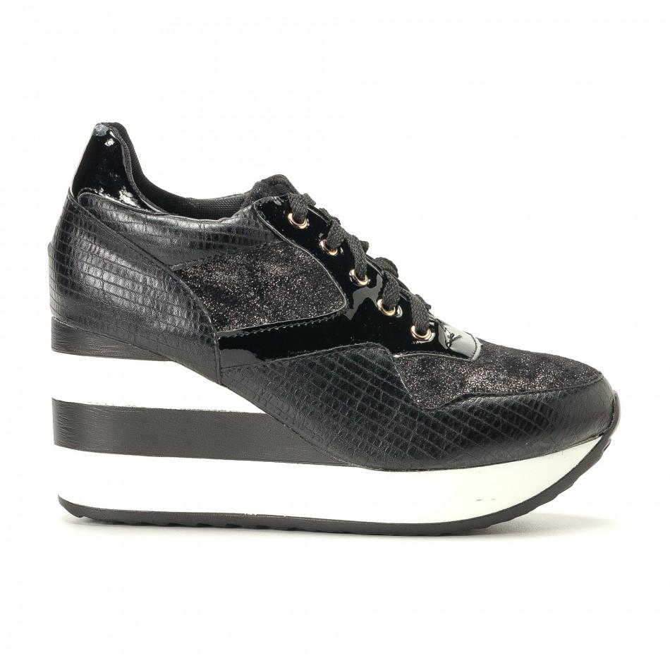 Дамски черни маратонки на платформи it200917-29