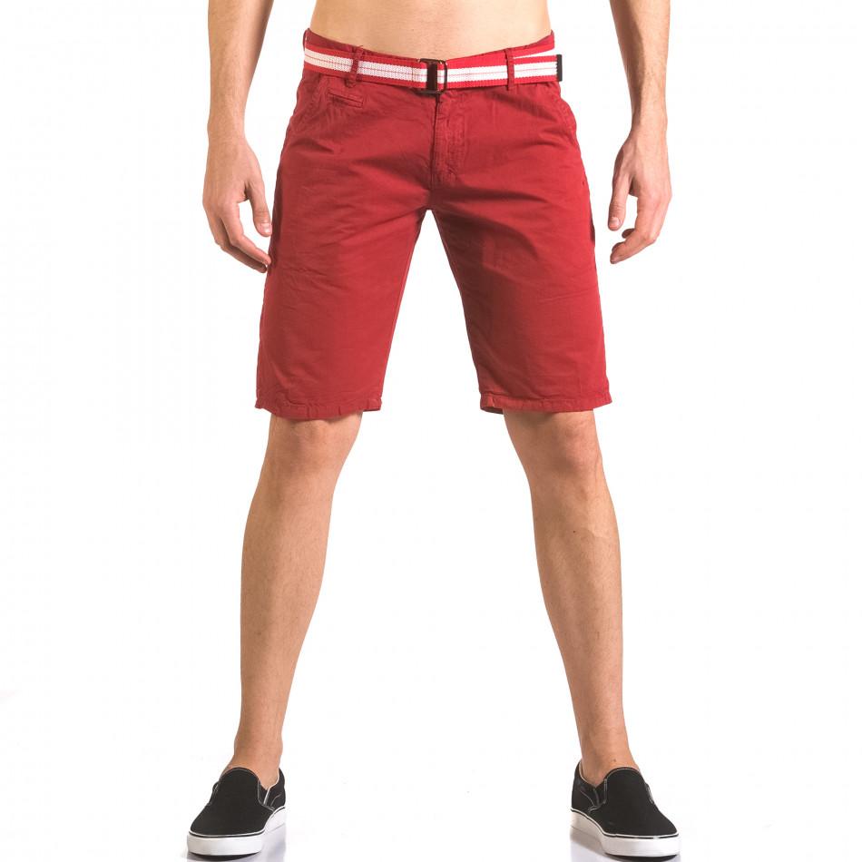 Мъжки червен къс панталон с текстилен колан ca050416-67