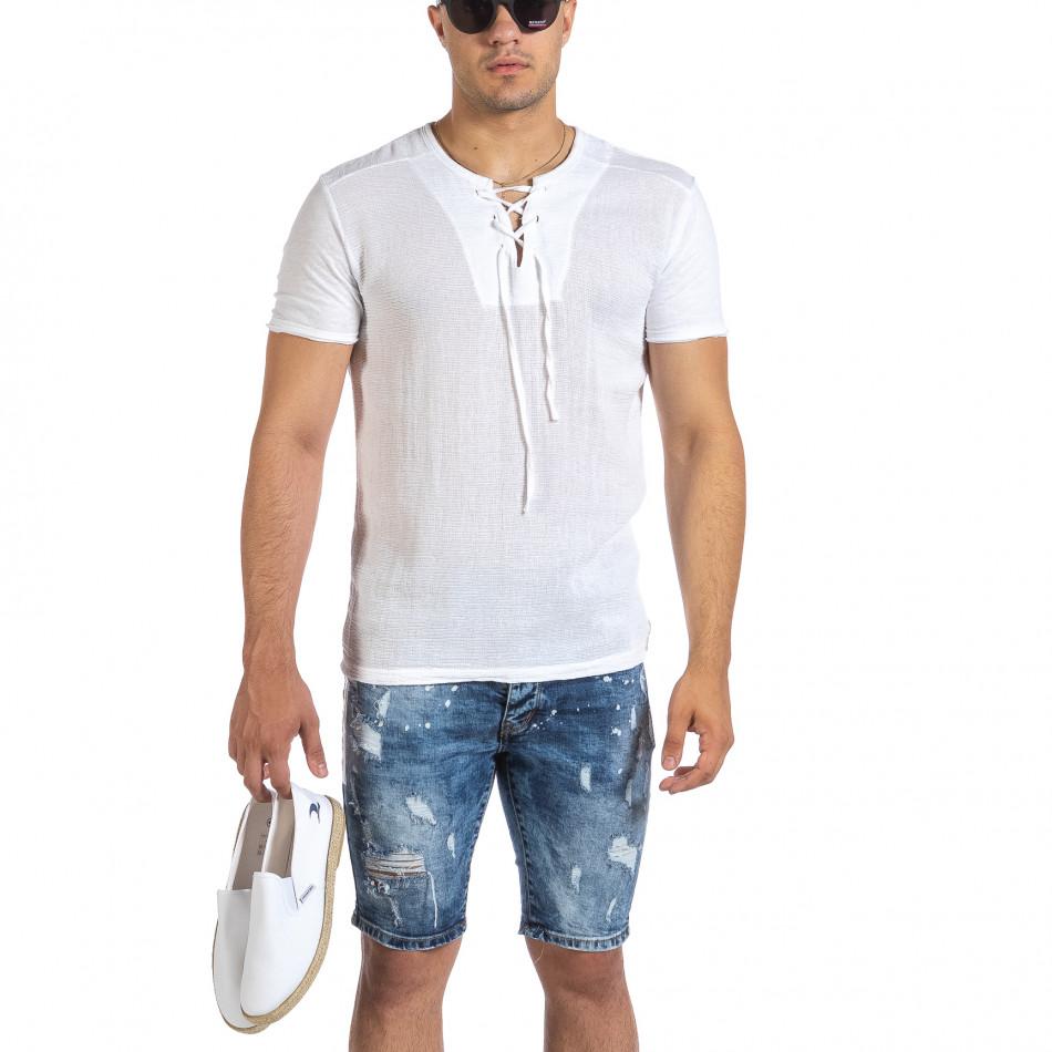 Текстурирана бяла тениска с връзка it240621-5