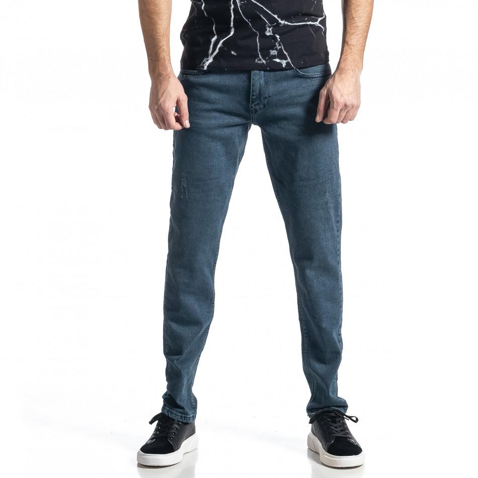 Long Slim дънки плътен деним в синьо tr010221-31