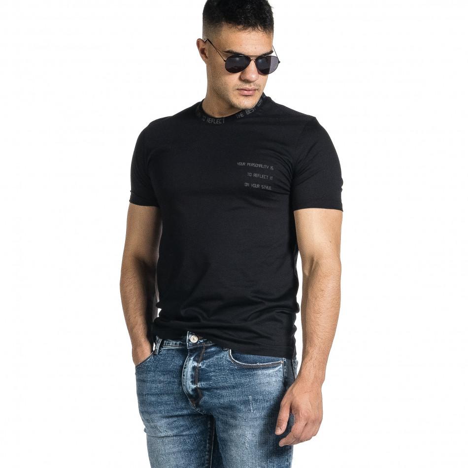 Мъжка черна тениска с декорирано бие tr150521-7
