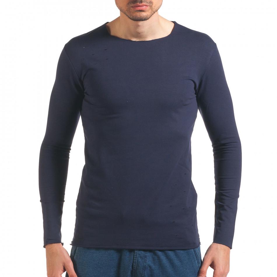 Синя мъжка блуза с декоративни скъсвания it250416-81