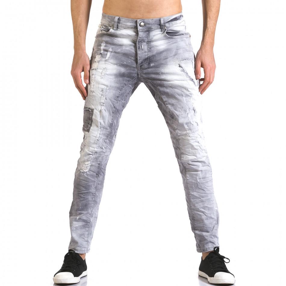 Мъжки сиви дънки със скъсвания и боя it110316-30