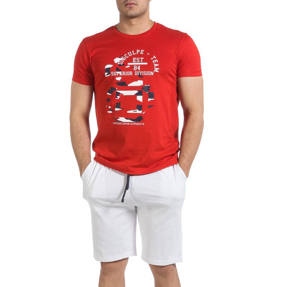 Мъжки комплект Disculpe в червено и бяло it040621-4