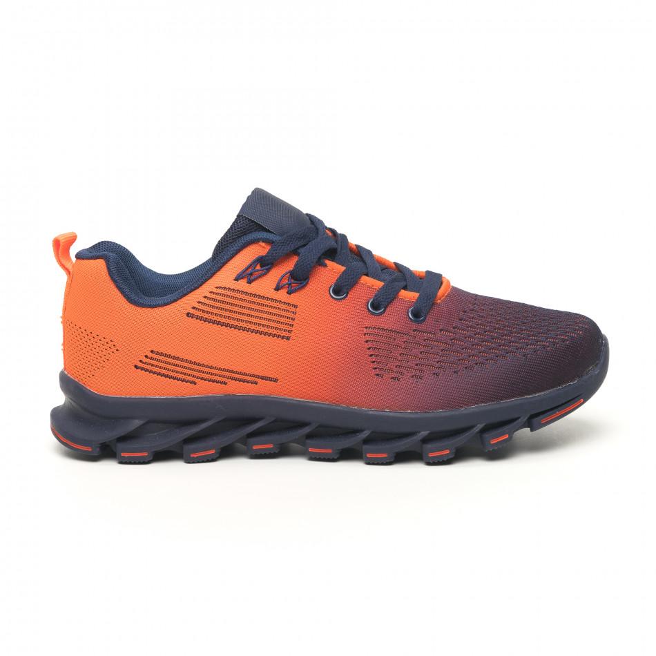 Синьо-оранжеви маратонки с релефна подметка it171019-1