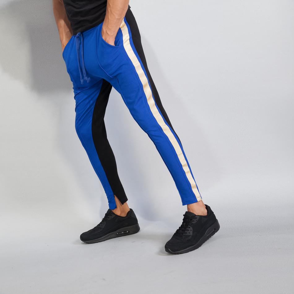 Мъжки Jogger в синьо и черно с кантове и ципове it240818-101