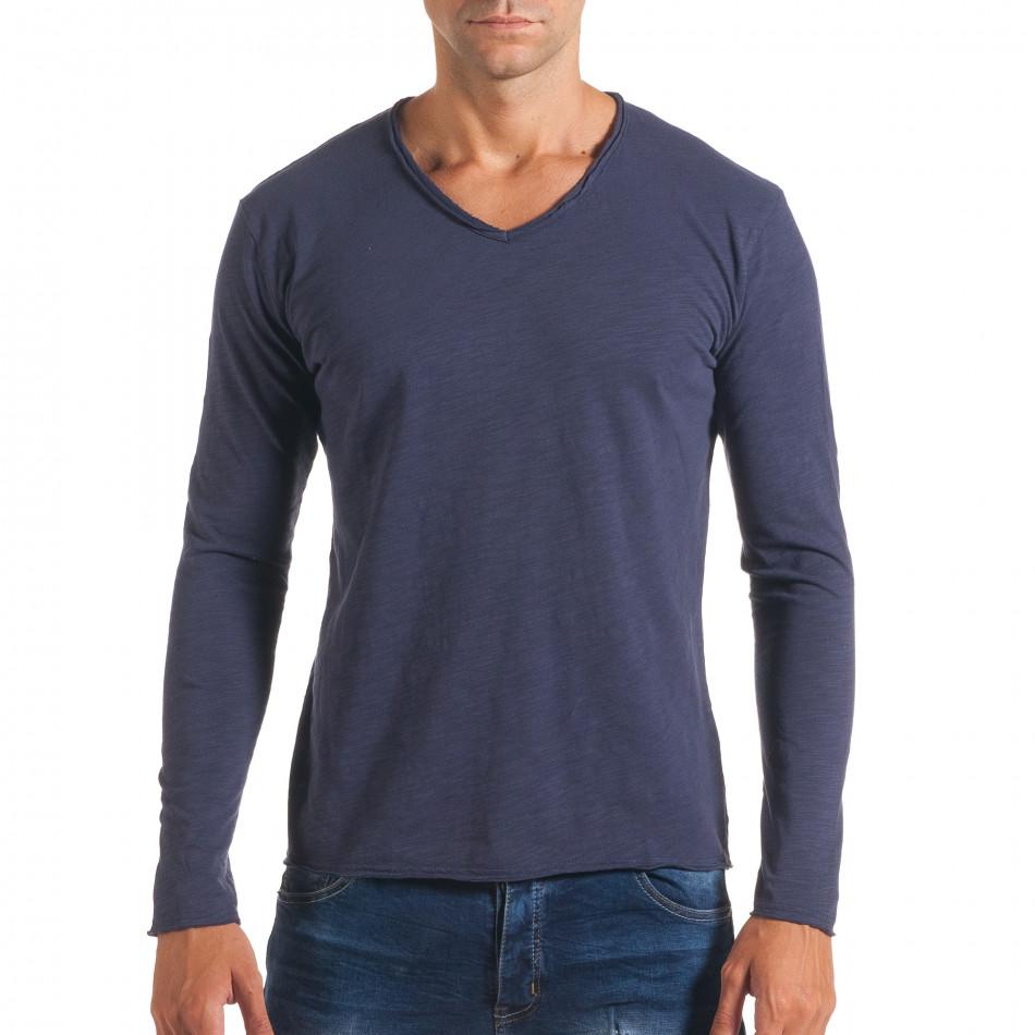Мъжка синя блуза с остро деколте it180816-4