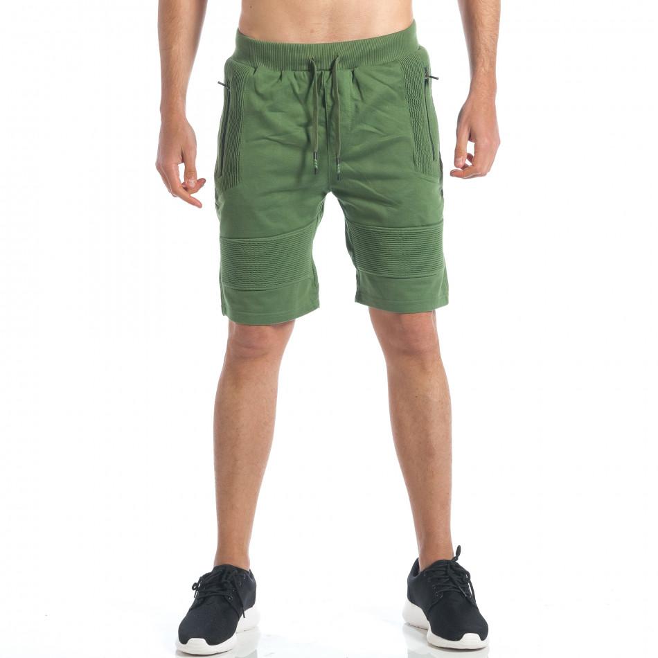 Мъжки зелени шорти с релефни части it190417-18