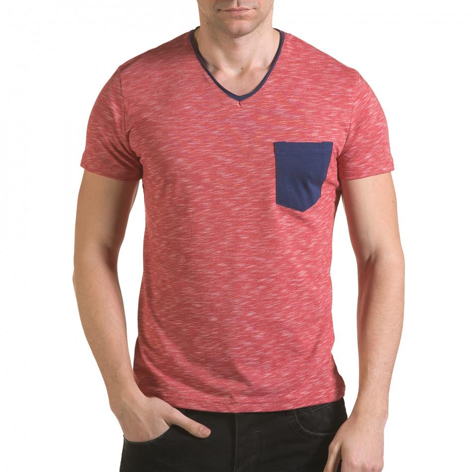 Мъжка червена тениска с тъмно син джоб il170216-15