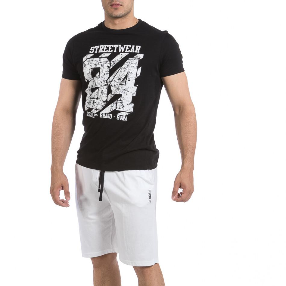 Мъжки комплект Streetwear в черно и бяло it040621-3