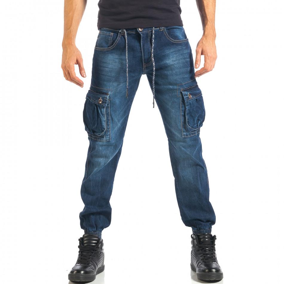 Мъжки дънки с джобове на крачолите и връзки it301017-12