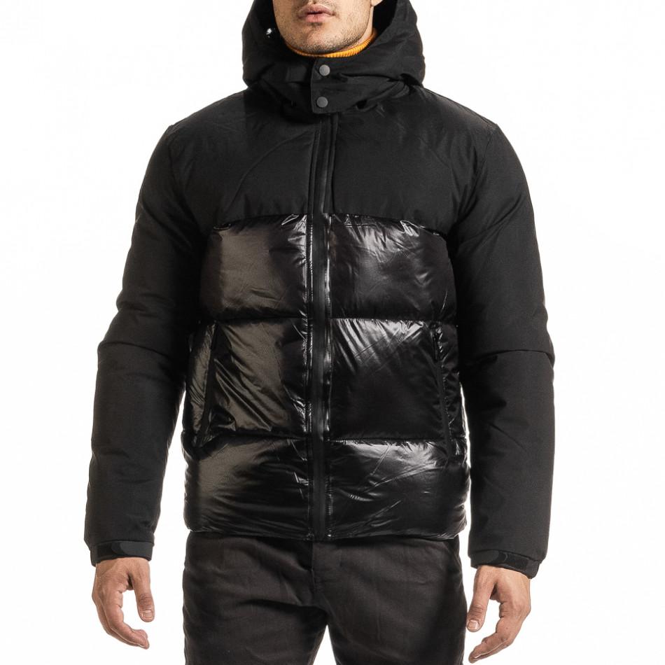 Черно лъскаво яке с контраст it301020-8