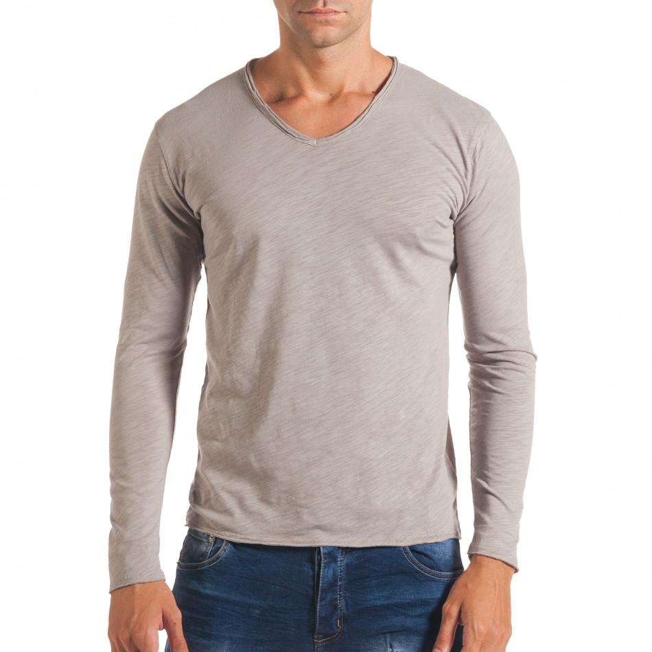 Мъжка сива блуза с остро деколте it180816-5
