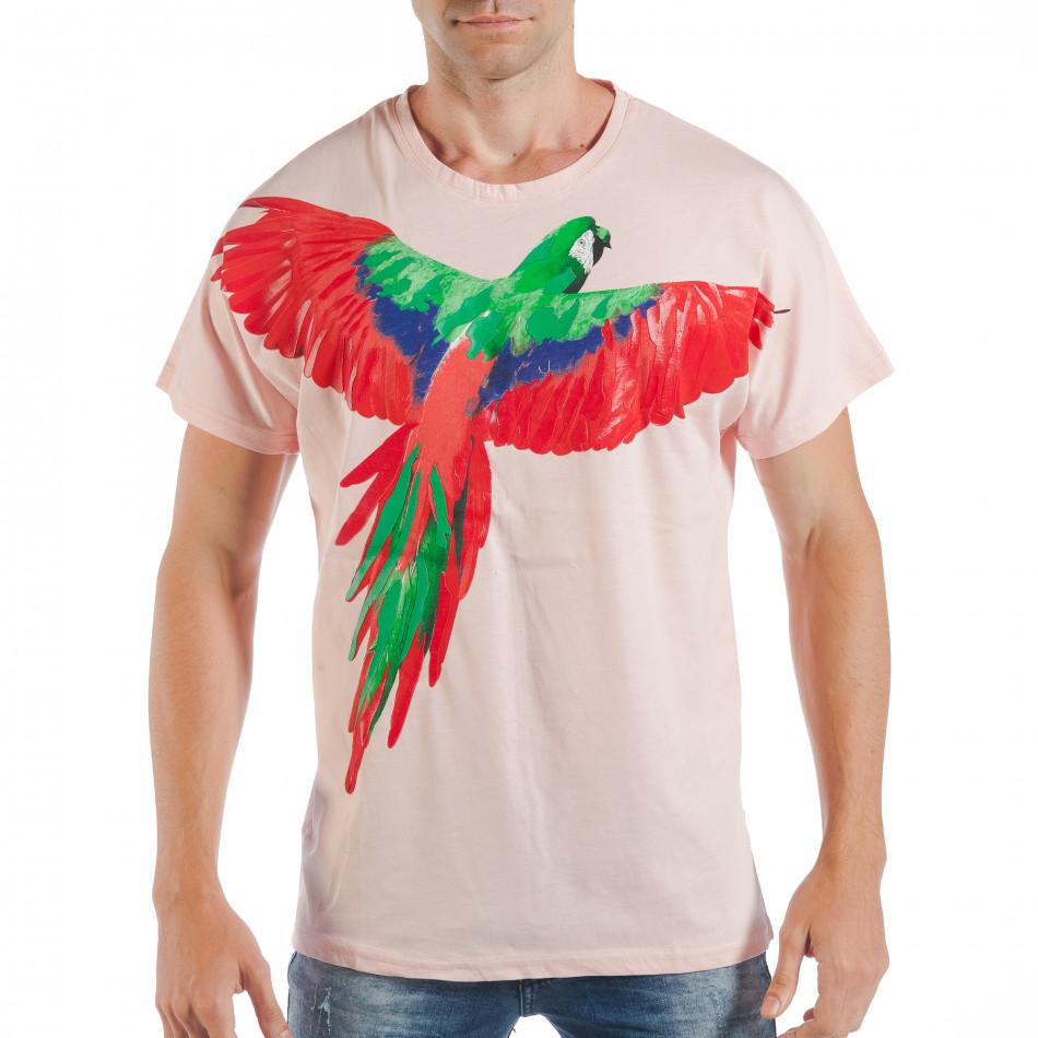 Розова мъжка тениска с релефен папагал tsf250518-7
