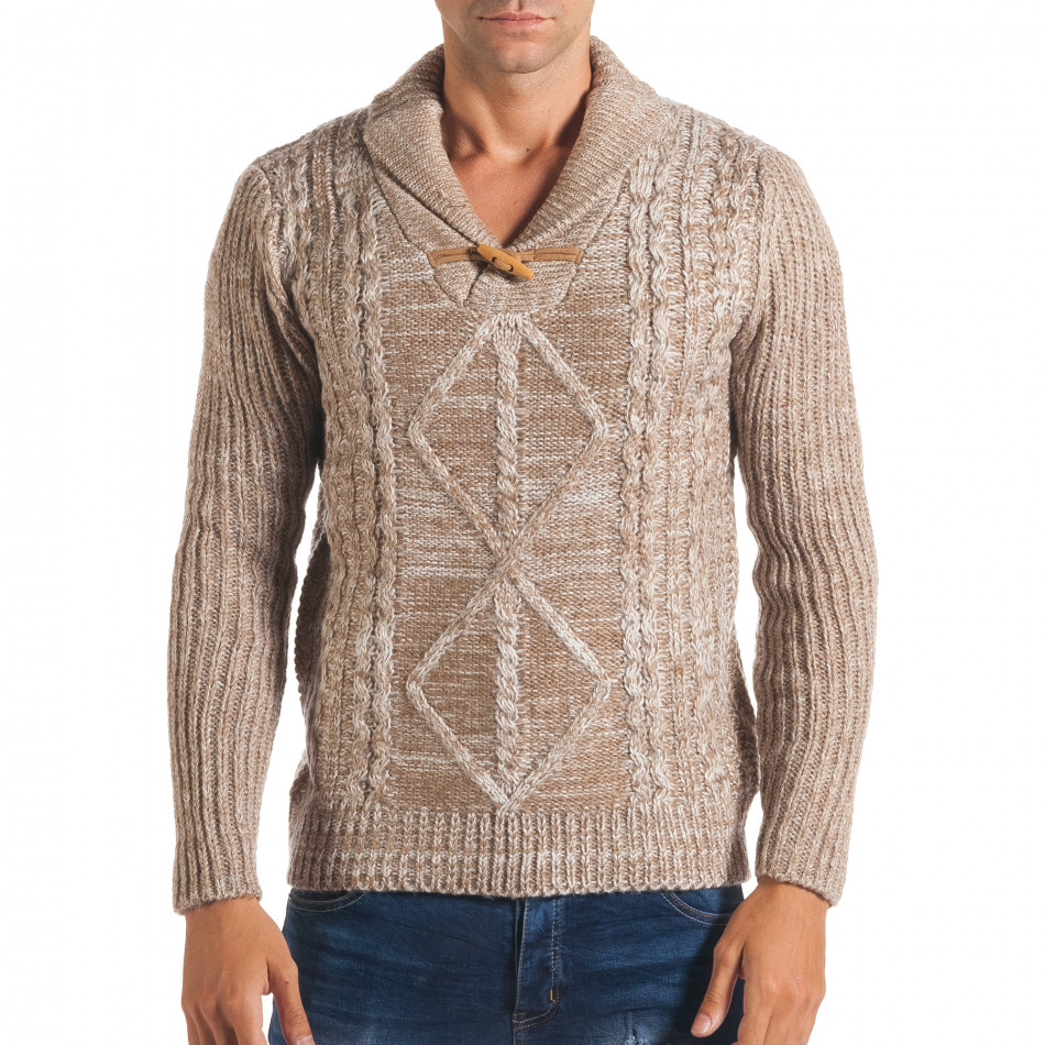 Мъжки бежов зимен пуловер с копче на яката it170816-28