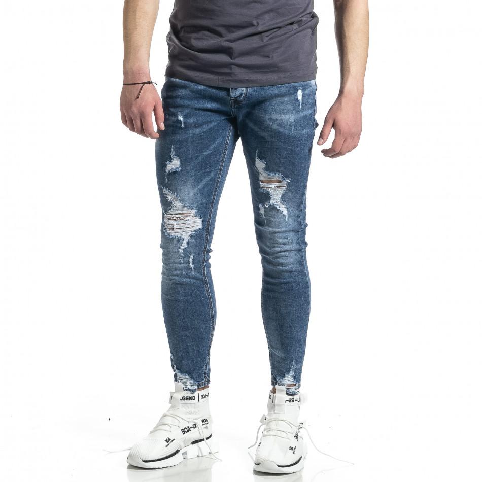 Мъжки сини дънки Destroyed  gr270221-6