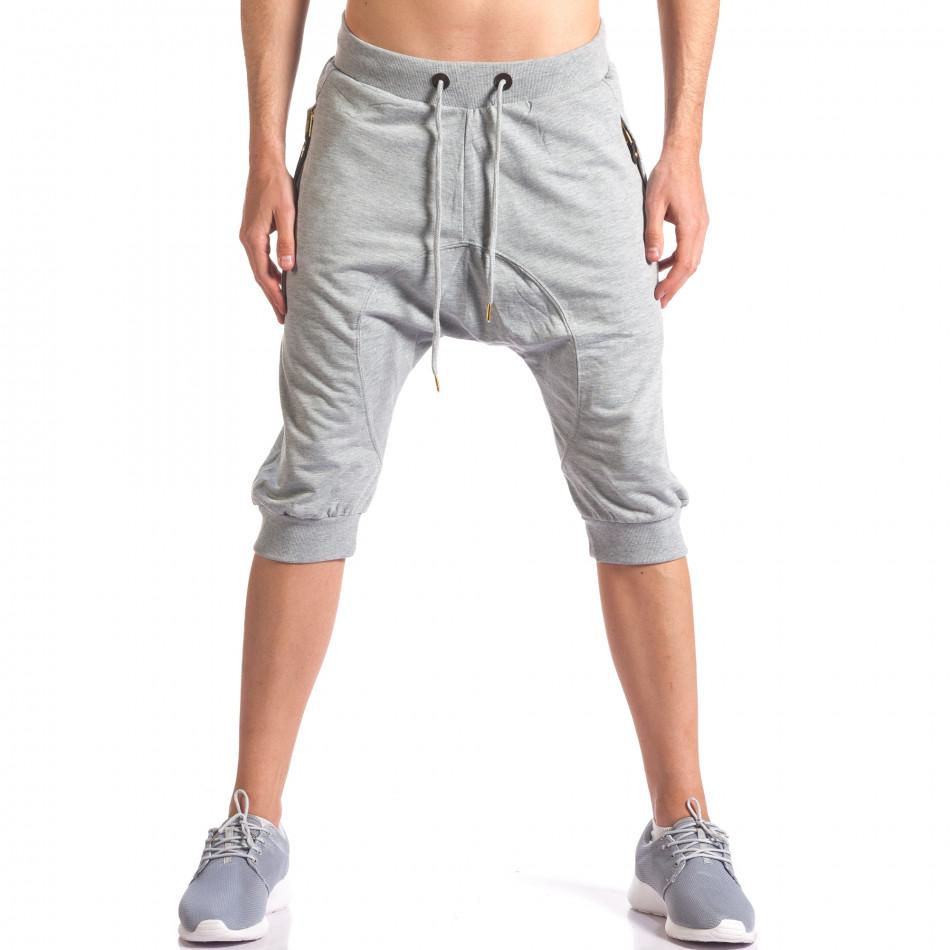 Сиви мъжки къси потури с ципове на джобовете it260416-33