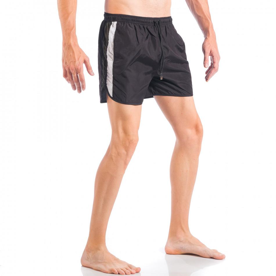 Мъжки черен бански с двуцветна лента it050618-64