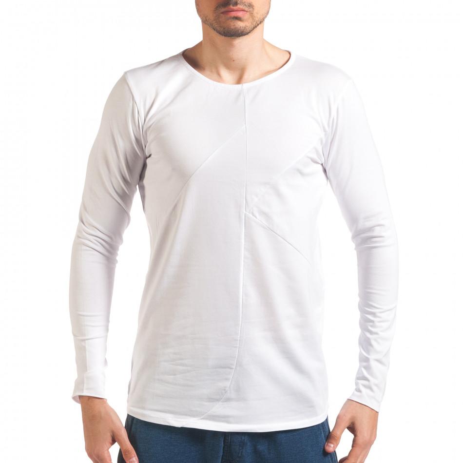 Бяла мъжка блуза с дълъг ръкав it250416-75