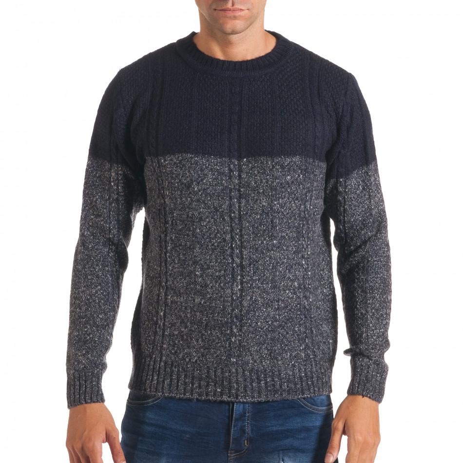 Мъжки син зимен пуловер с релефна плетка it170816-30