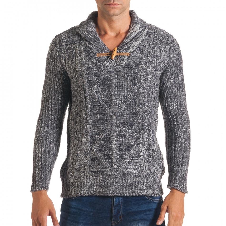 Мъжки синьо-бял зимен пуловер с копче на яката it170816-29