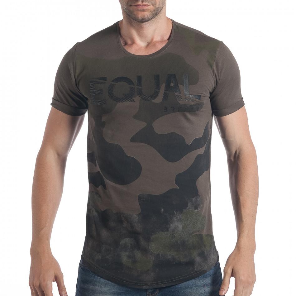 Мъжка тениска зелен камуфлаж с надпис tsf090617-25