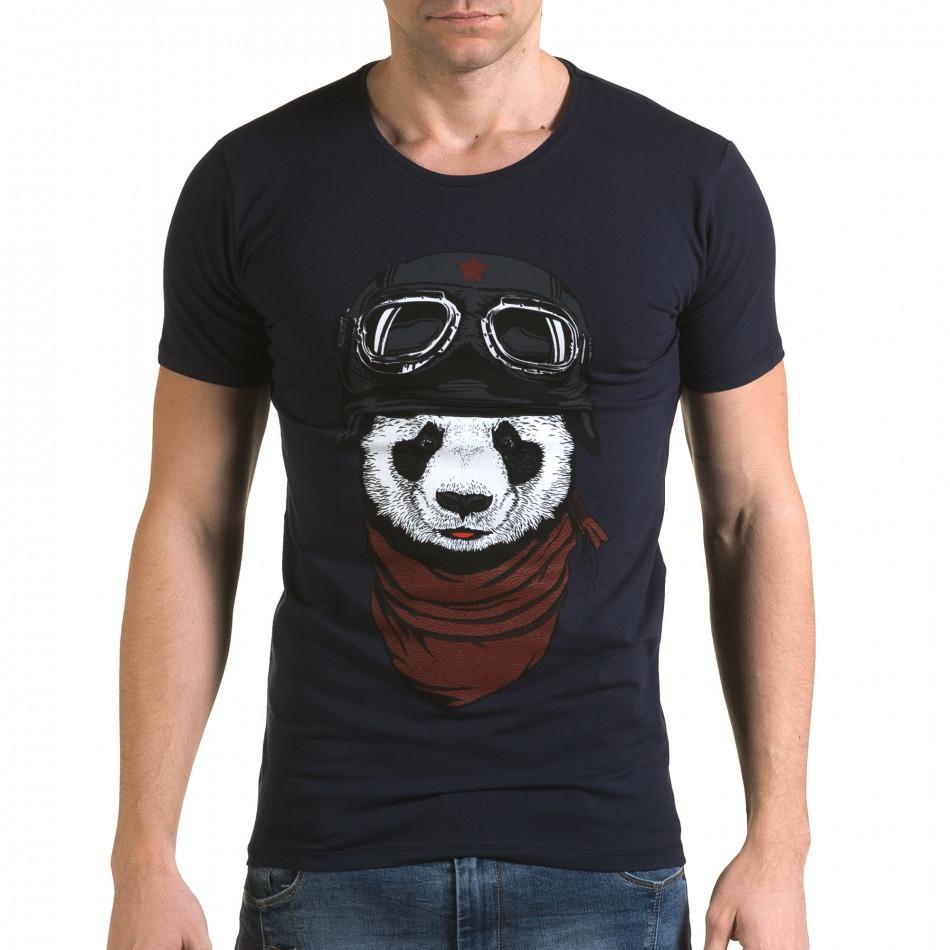Мъжка синя тениска с панда il120216-8
