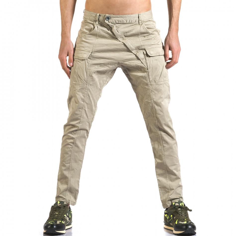 Мъжки зелен панталон с допълнителни джобове it110316-31