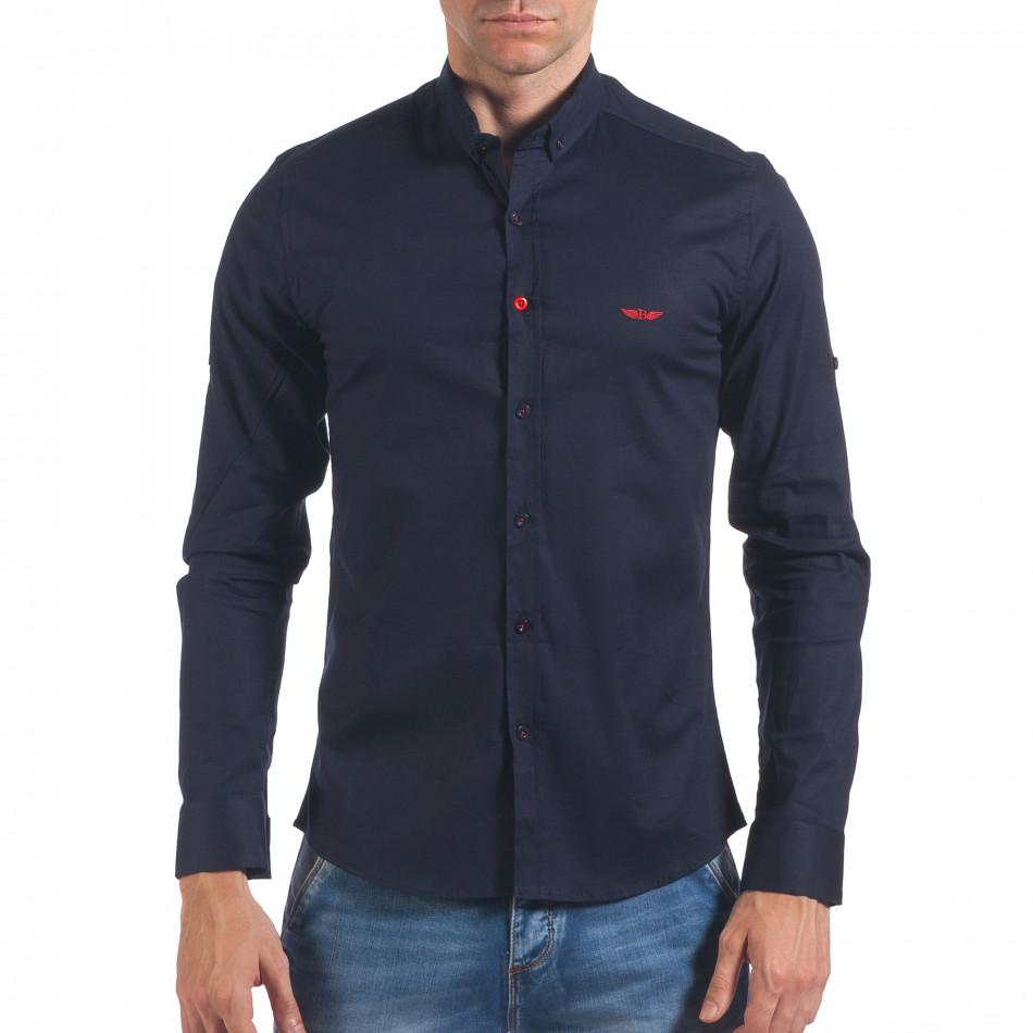 Мъжка синя риза класически модел il060616-112