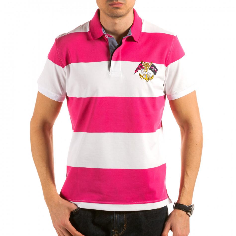 Мъжка розово-бяла тениска с яка il180215-114
