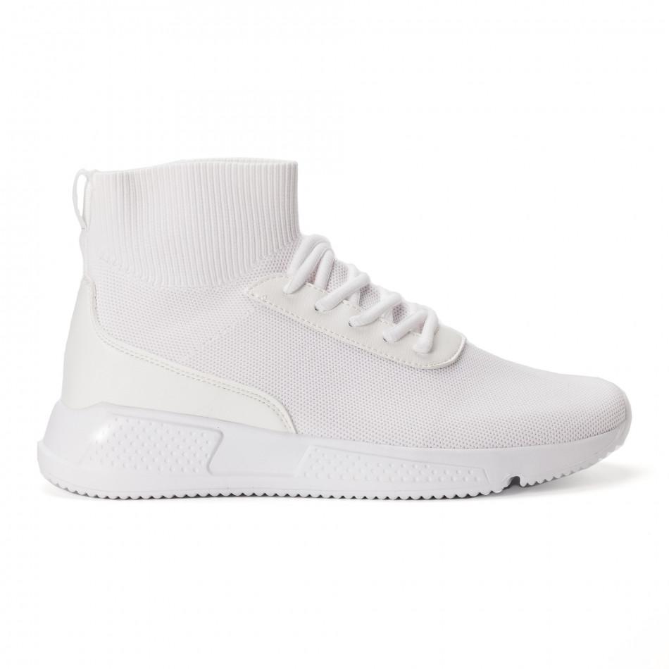 Комбинирани бели мъжки маратонки тип чорап  it020618-18