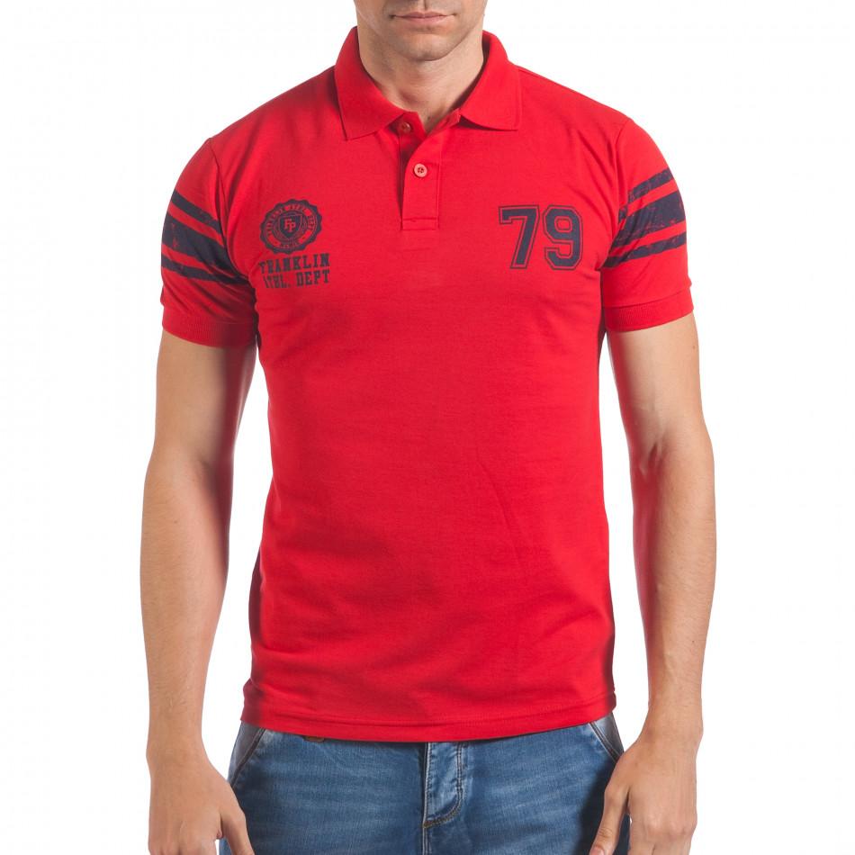 Мъжка червена тениска с яка със син номер 79 il060616-103