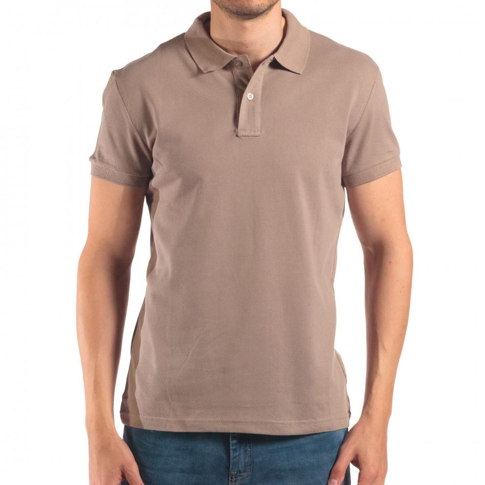 Мъжка сиво-зелена тениска с яка изчистен модел it150616-38