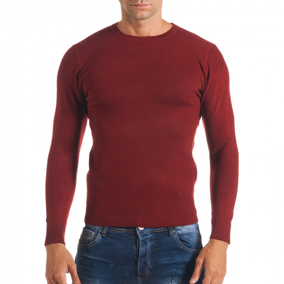 Мъжки червен изчистен пуловер с обло деколте it170816-44
