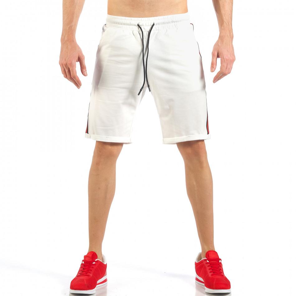 Мъжки бели шорти с черно-червен кант it260318-147
