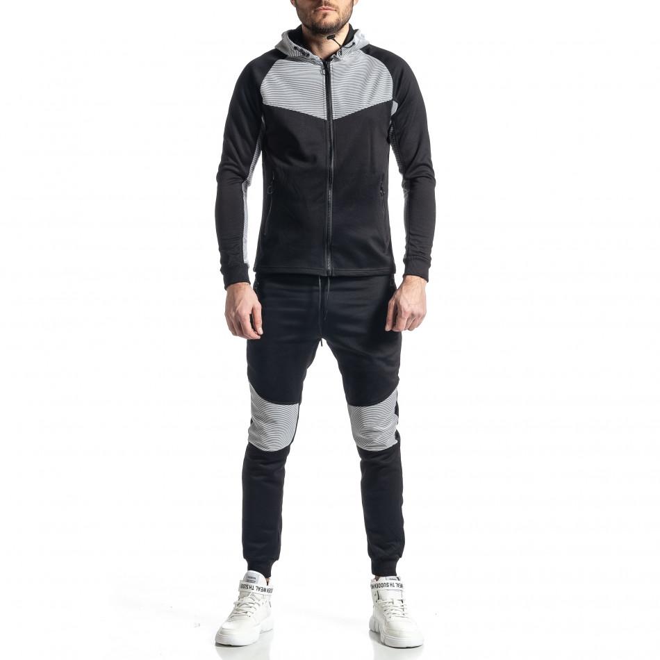 Мъжки черно-бял анцуг Biker style it010221-59