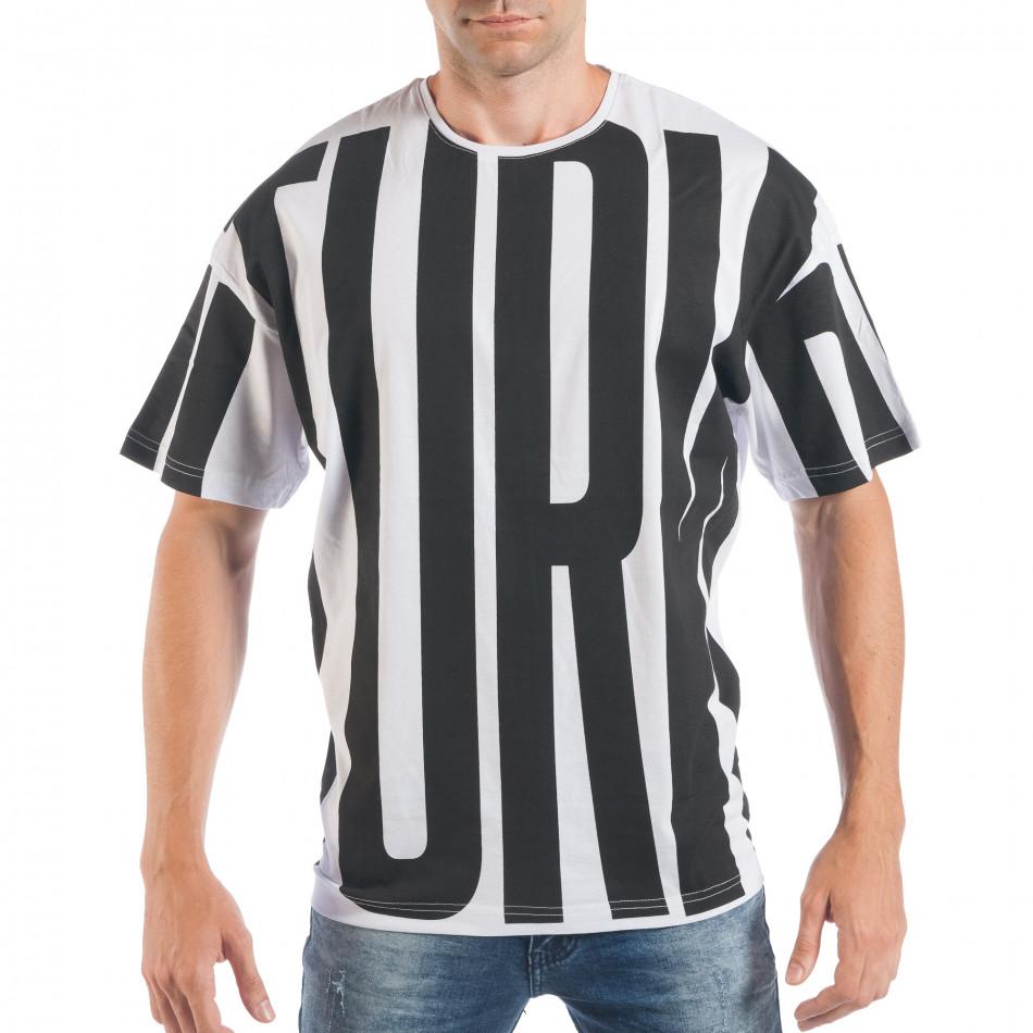 Мъжка черно-бяла тениска със свободна кройка  tsf250518-4