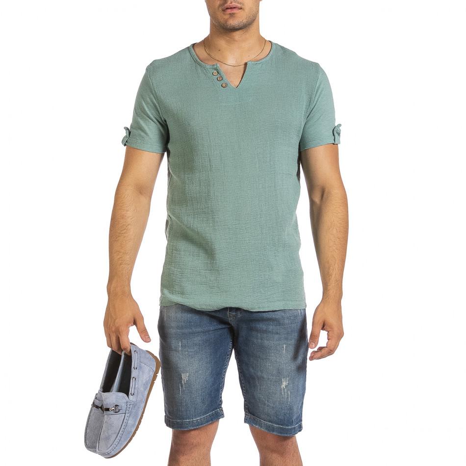 Текстурирана зелена тениска с копчета it240621-3