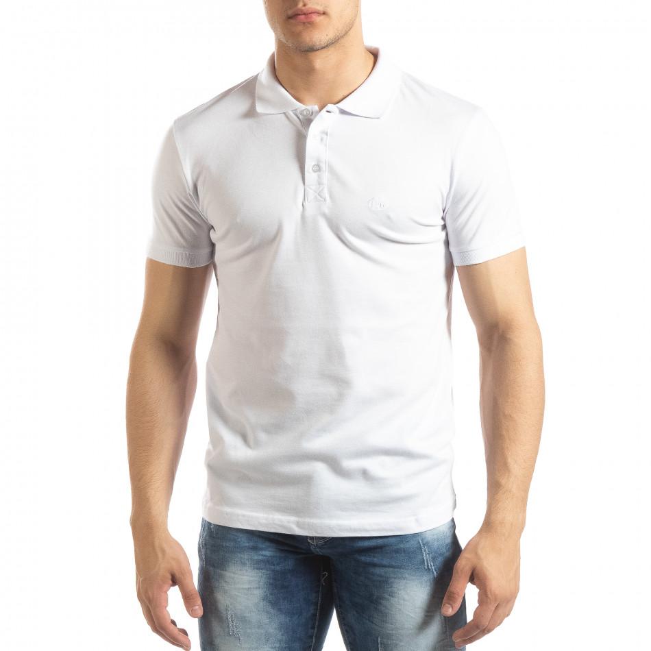 Фина мъжка тениска Polo shirt в бяло it150419-97