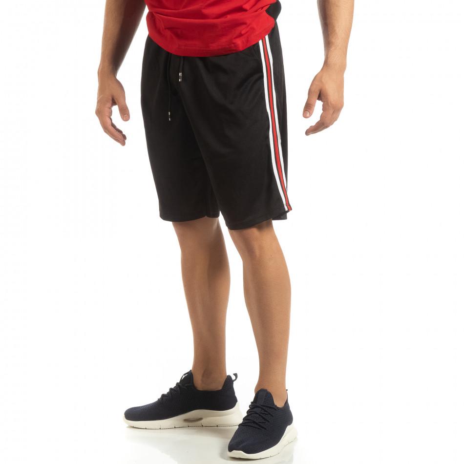 Ултралеки мъжки шорти в черно с кантове it090519-50